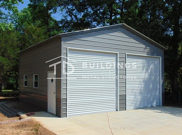metal garage with gray walls and white doors